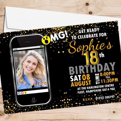 10 Personalised Birthday Party PHOTO Invitations N224 Black & Gold Phone Emotions - ANY AGE